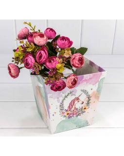 """Коробка """"Ваза для цветов"""" 14,5*14,5*15 с ручками """"Единорог""""  1 шт."""