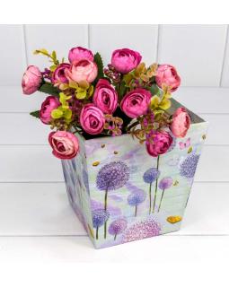 "Коробка ""Ваза для цветов"" 14,5*14,5*15 с ручками ""Одуванчики"" 1 шт."