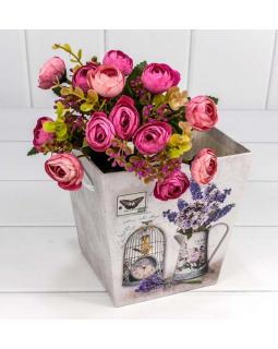 """Коробка """"Ваза для цветов"""" 14,5*14,5*15 с ручками """"Сирень в вазе"""" 1 шт."""