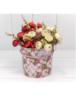 """Коробка """"Ваза для цветов"""" 15*13 с ручкой """"Цветы 4"""" 1 шт."""