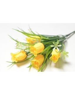 БАЛШЕМ Букет бутонов роз 5 голов с мелкоцветом желтый (1шт) 141.2098