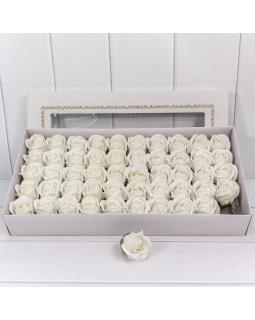 """Декоративный цветок-мыло """"Роза"""" класс А Белый 5,5*4 50шт."""
