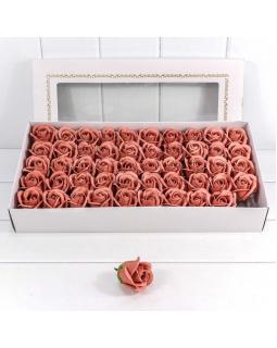 """Декоративный цветок-мыло """"Роза"""" класс А Тёмно-коралловый 5,5*4"""