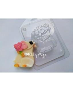 Коровка с букетом HP, форма для мыла пластиковая (1 шт)