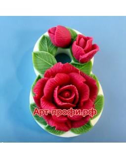 8-ка с розами № 3, форма для мыла силиконовая (1 шт)