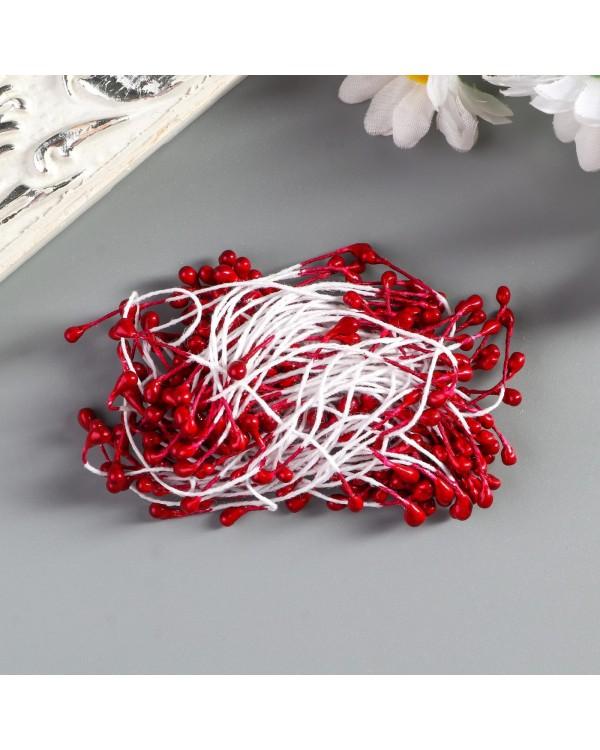 """Тычинки для искусственных цветов """"Капельки бордовые"""" (набор 130 шт) длина 6 см"""