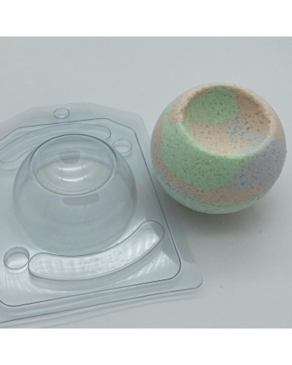 Полусфера D70 с выемкой D45 с позиц., форма для мыла пластиковая (1 шт)