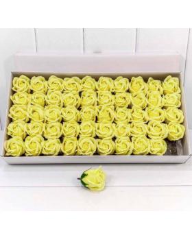 """Декоративный цветок-мыло """"Роза"""" класс А Незрелый жёлтый 5,5*4 50шт"""