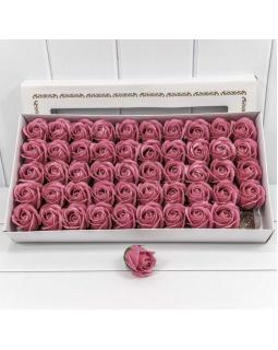 """Декоративный цветок-мыло """"Роза"""" класс А Тёмный пурпурно-розовый 5,5*4 50шт."""
