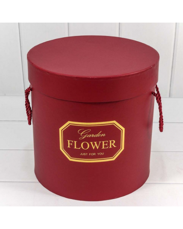 "Коробка Цилиндр 23*23 ""Garden Flower"" Бордовый 720606/7"