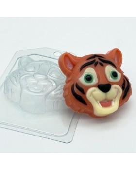 Тигр Мультяшная морда, форма для мыла пластиковая